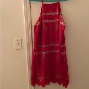 Francesca's Boho Red Crochet  Dress